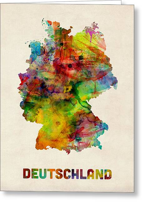 German Map Greeting Cards - Germany Watercolor Map Deutschland Greeting Card by Michael Tompsett