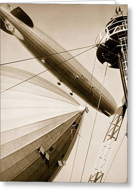 Black Greeting Cards - Germanys Two Mighty Airships, The Graf Greeting Card by German Photographer