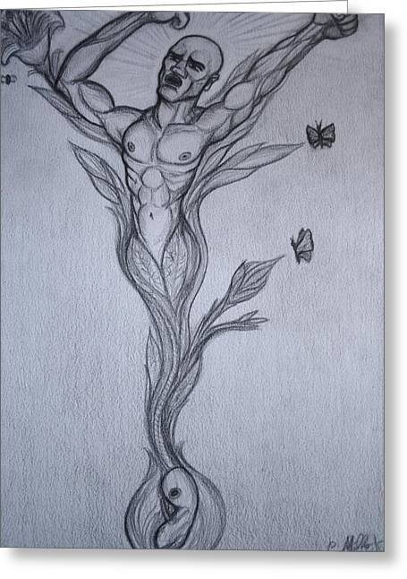 Liberation Drawings Greeting Cards - Germinal the birth of the free Man Greeting Card by Cindy MILLET