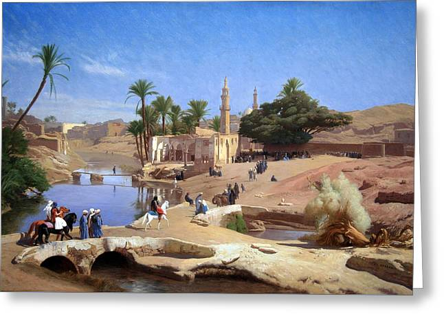 C.1870 Greeting Cards - Geromes View Of Medinet El Fayoum Greeting Card by Cora Wandel