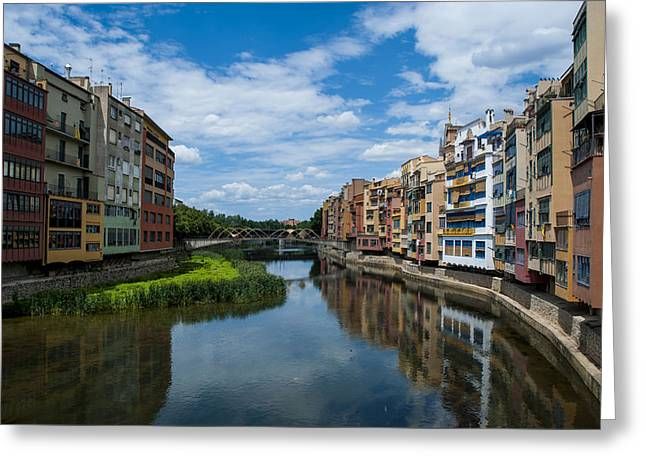 Reflex Pyrography Greeting Cards - Gerona canal - Spain  Greeting Card by Louisiana  Photography