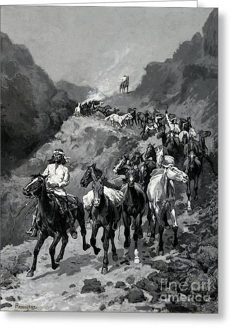 Path Drawings Greeting Cards - Geronimo and his Band Returning from a Raid into Mexico Greeting Card by Frederic Remington