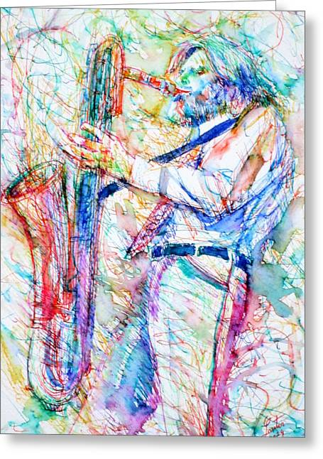 Gerry Greeting Cards - GERRY MULLIGAN playing Greeting Card by Fabrizio Cassetta