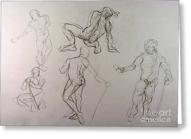 Gestures of a Man Greeting Card by Andy Gordon