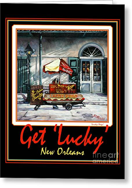 Lucky Dogs Paintings Greeting Cards - Get  Lucky  -  New Orleans Greeting Card by Dianne Parks