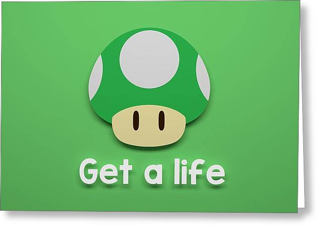 Video Game Life Greeting Cards - Get A Life Greeting Card by Edo Kok