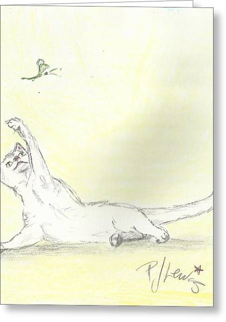 Cats Drawings Drawings Greeting Cards - Get em Greeting Card by P J Lewis