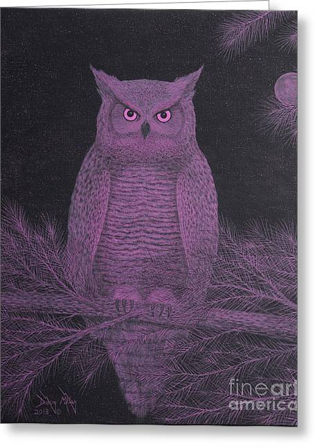 Get Pinked Great Horned Owl Greeting Card by Doug Miller