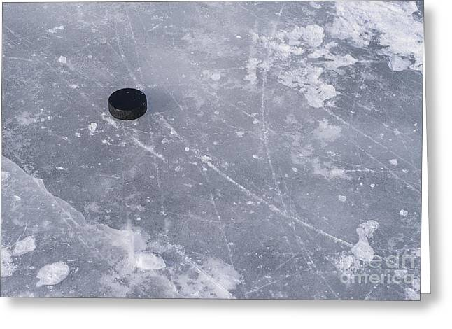 Ralser Greeting Cards - Get the puck outta here Greeting Card by Steven Ralser