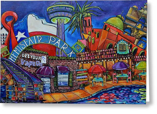 Riverwalk Paintings Greeting Cards - Get Your Vape On San Antonio Greeting Card by Patti Schermerhorn