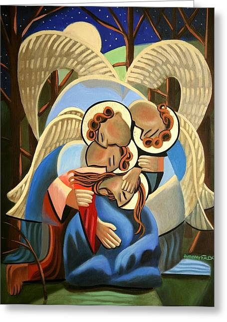 Famous Artist Greeting Cards - Gethsemane The Hour Is Near Greeting Card by Anthony Falbo