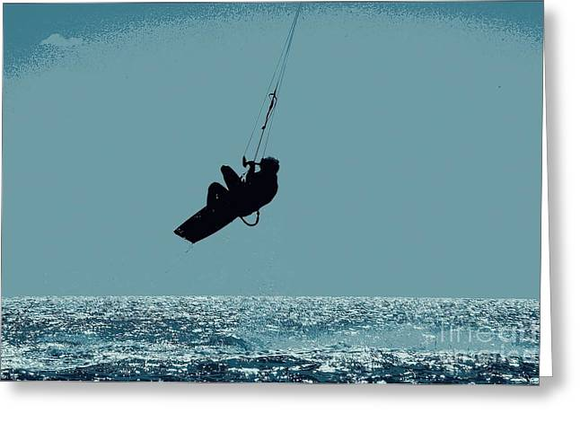 Kite Surfing Greeting Cards - Getting Air Greeting Card by Pamela Blizzard