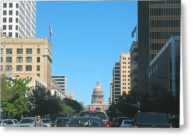 American_flag Greeting Cards - Getting Around in Austin Texas Greeting Card by Connie Fox