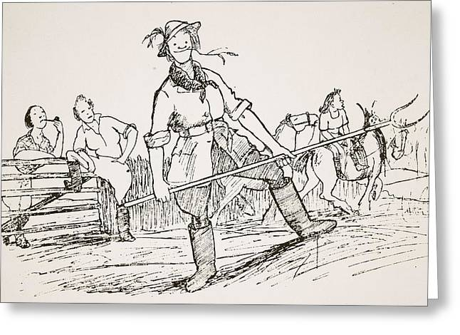 Farmer Drawings Greeting Cards - Getting Back To The Land, Illustration Greeting Card by Pont