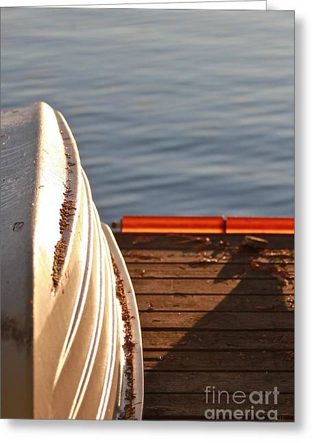 Docked Boat Pastels Greeting Cards - Getting Ready for Winter. Greeting Card by Tracey Levine
