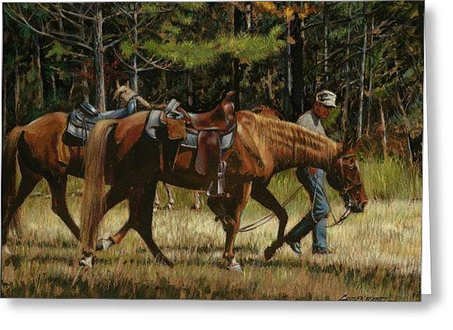Two Horses Greeting Cards - Getting Ready to Ride Greeting Card by Don  Langeneckert