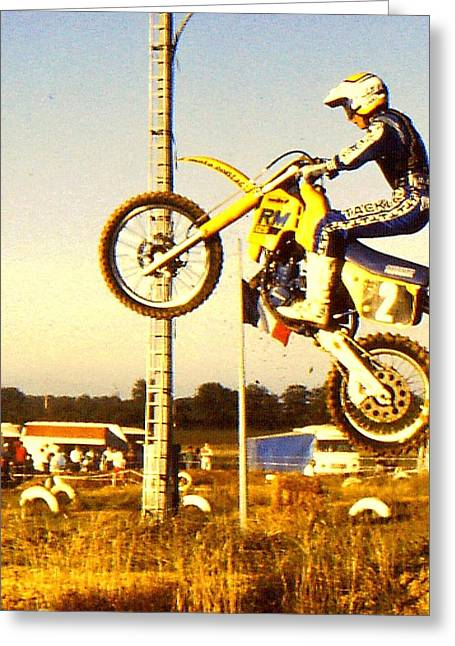 Supercross Greeting Cards - Getting some air Greeting Card by Guy Pettingell
