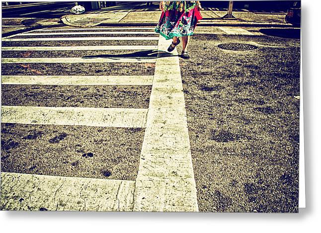 Crosswalk Greeting Cards - Getting Somewhere Greeting Card by Karol  Livote