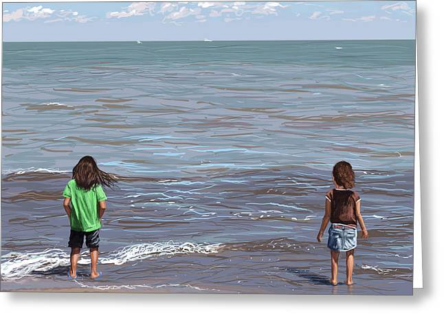 Kids Playing At Beach Greeting Cards - Getting Their Feet Wet Greeting Card by Shawna  Rowe