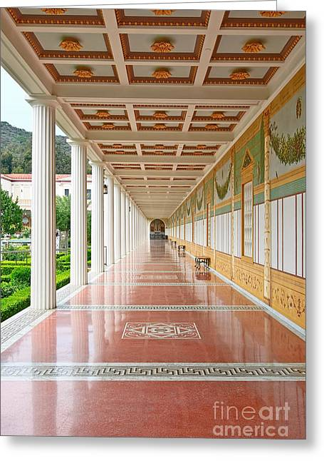 Getty Greeting Cards - Getty Villa - Covered Walkway Greeting Card by Jamie Pham