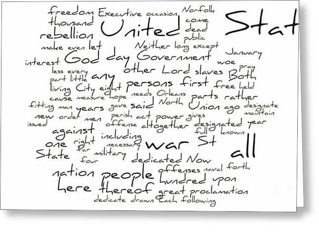 Slavery Greeting Cards - Gettysburg Address-Emancipation Proclamation-Second Inaugural Address-Word Cloud Greeting Card by David Bearden
