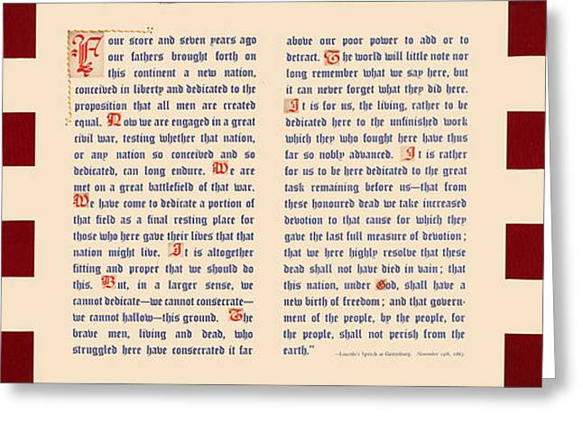 Gettysburg Address Greeting Card by Gary Grayson