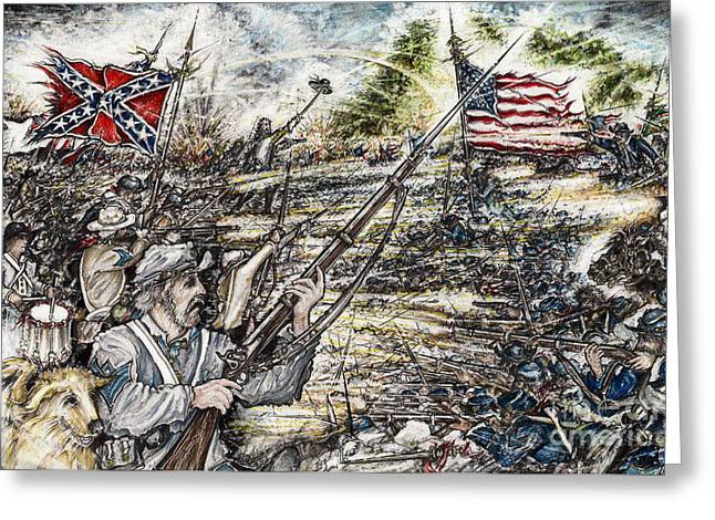Confederate Flag Drawings Greeting Cards - Gettysburg Ashs at the Angle Greeting Card by Scott and Dixie Wiley