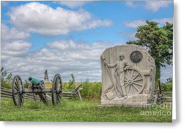 Battle Of Gettysburg Digital Art Greeting Cards - Gettysburg Battlefield 15th NY Battery Cannon  Greeting Card by Randy Steele