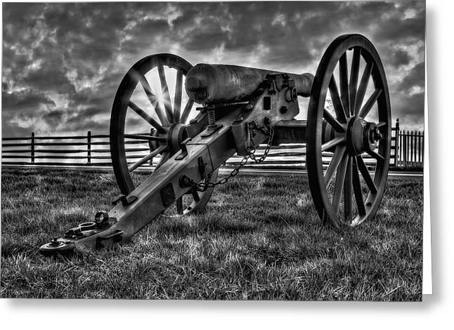 Confederate Monument Greeting Cards - Gettysburg Battlefield Cannon BW Greeting Card by Susan Candelario