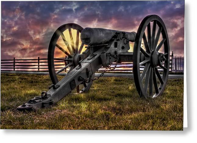 Confederate Monument Greeting Cards - Gettysburg Battlefield Cannon Greeting Card by Susan Candelario