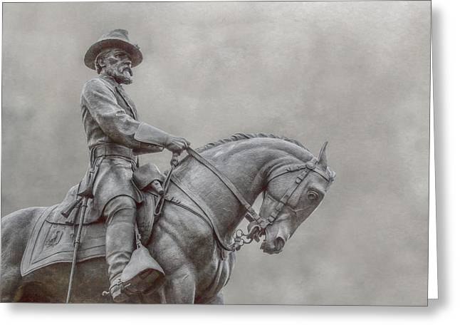 Stone Sentinel Greeting Cards - Gettysburg Battlefield General Statue Greeting Card by Randy Steele