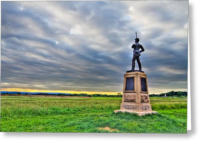 Afternoon Battle Greeting Cards - Gettysburg Battlefield Soldier Never Rests Greeting Card by Andres Leon