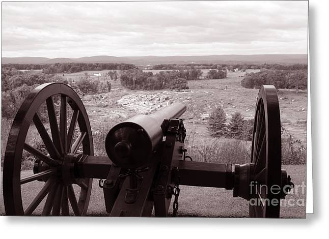 Devils Den Greeting Cards - Gettysburg Battlefield View from Little Round Top Greeting Card by John Van Decker