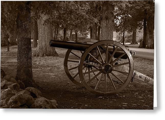 Gettysburg Greeting Cards - Gettysburg Cannon B W Greeting Card by Steve Gadomski
