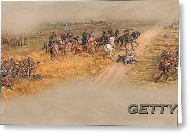 Confederate Flag Greeting Cards - Gettysburg Cyclorama Detail Picketts Charge  Greeting Card by Randy Steele