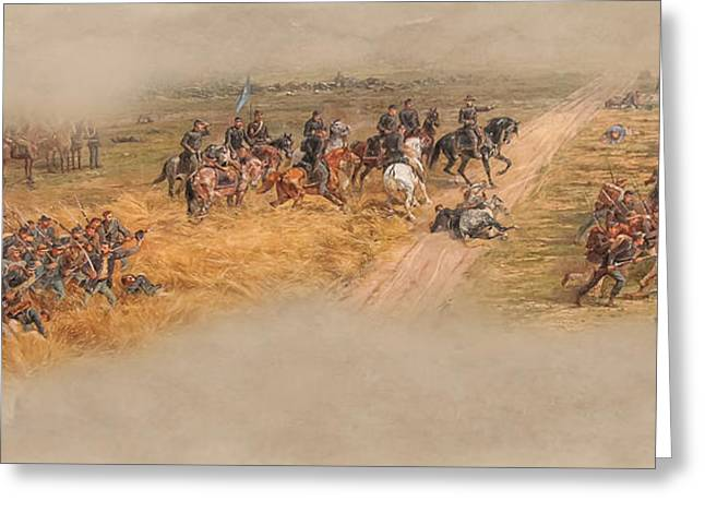 Confederate Flag Greeting Cards - Gettysburg Cyclorama Detail Picketts Charge Two Greeting Card by Randy Steele