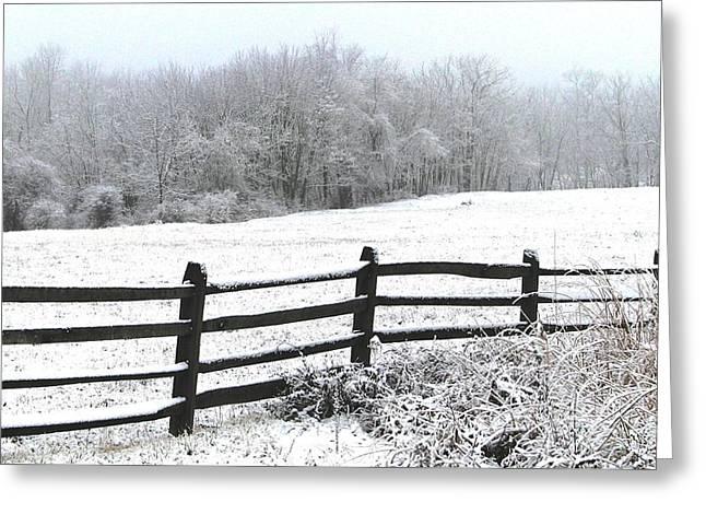 Split Rail Fence Greeting Cards - Gettysburg In January Greeting Card by Angela Davies