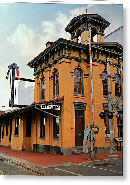 Classic American Railroad Greeting Cards - Gettysburg Railroad Station Greeting Card by Stephen Stookey
