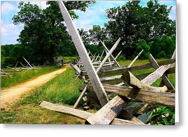 Split Rail Fence Greeting Cards - Gettysburg Split Rail Greeting Card by Dan Stutzman