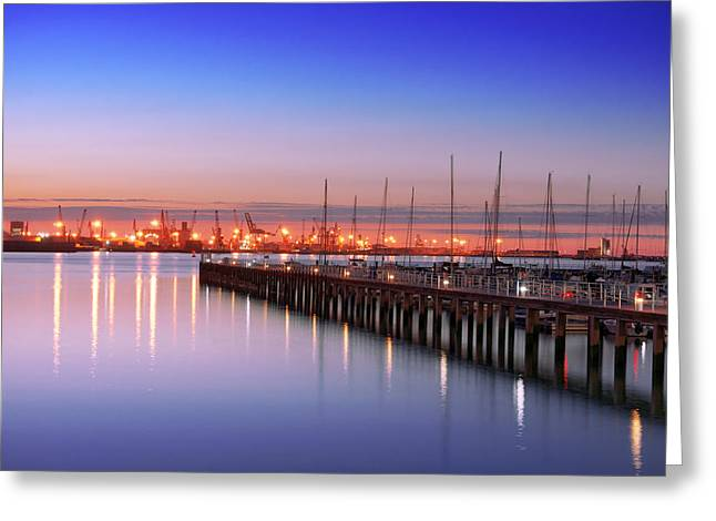 Blue Sailboats Greeting Cards - Getxo pier with yacht masts at night Greeting Card by Mikel Martinez de Osaba