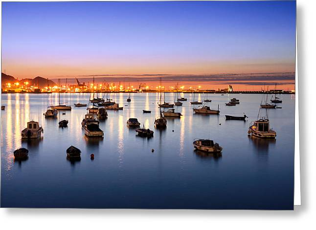 Yatch Greeting Cards - Getxo Port At Night With Yatchs And Sailboats Greeting Card by Mikel Martinez de Osaba