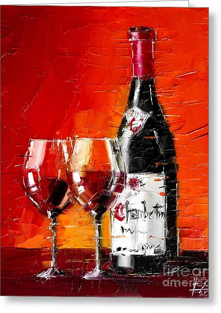 Still Life With Wine Bottle And Glass IIi Greeting Card by Mona Edulesco