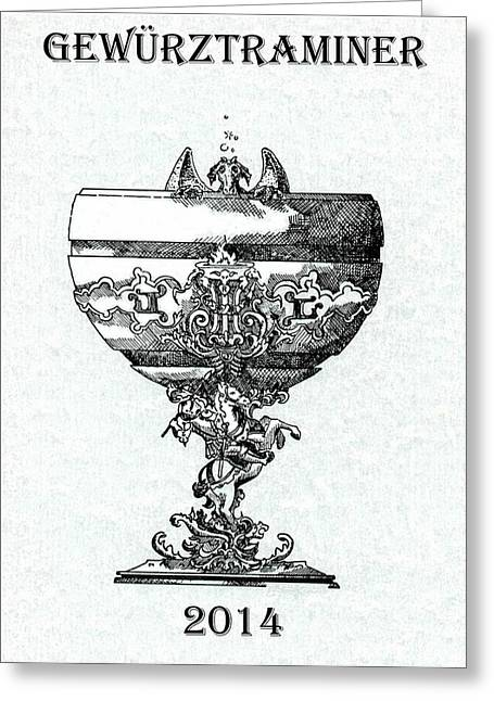 Champagne Glasses Drawings Greeting Cards - Gewurztraminer Greeting Card by Julio R Lopez Jr