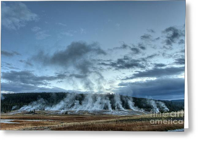 Us Destinations Greeting Cards - Geysers,yellowstone National Park Greeting Card by Mark Newman
