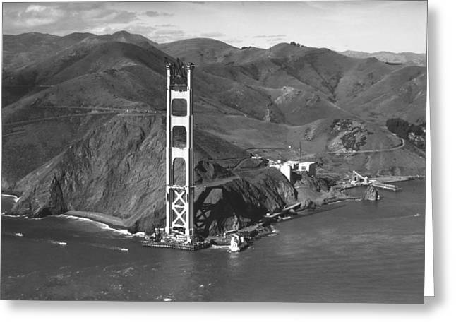 Marin County Greeting Cards - GGB Tower Under Construction Greeting Card by Underwood Archives