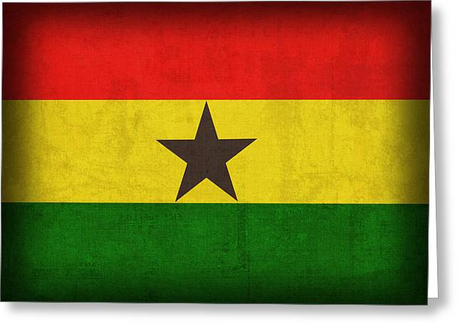 Ghana Flag Distressed Vintage Finish Greeting Card by Design Turnpike
