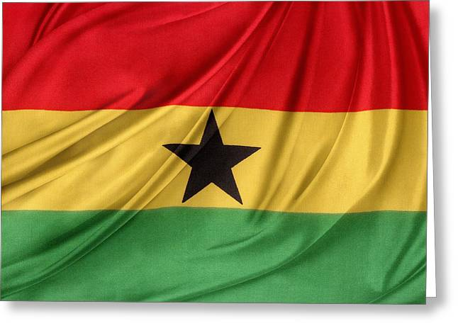 Shiny Fabric Greeting Cards - Ghana flag Greeting Card by Les Cunliffe