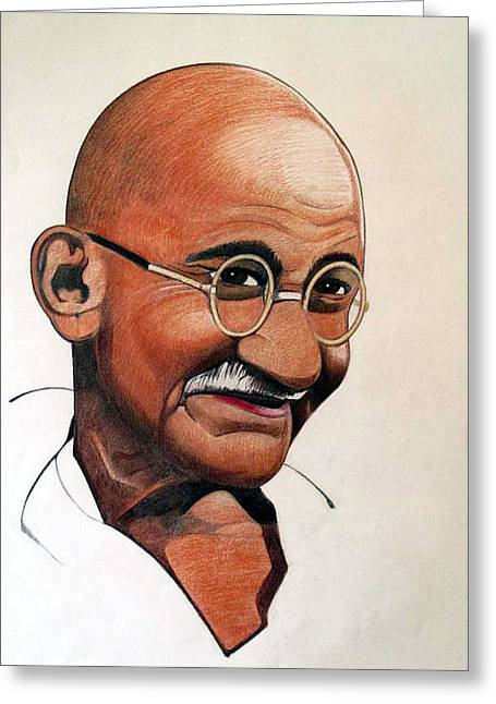 Civil Rights Drawings Greeting Cards - Ghandi Greeting Card by Victor Carrington