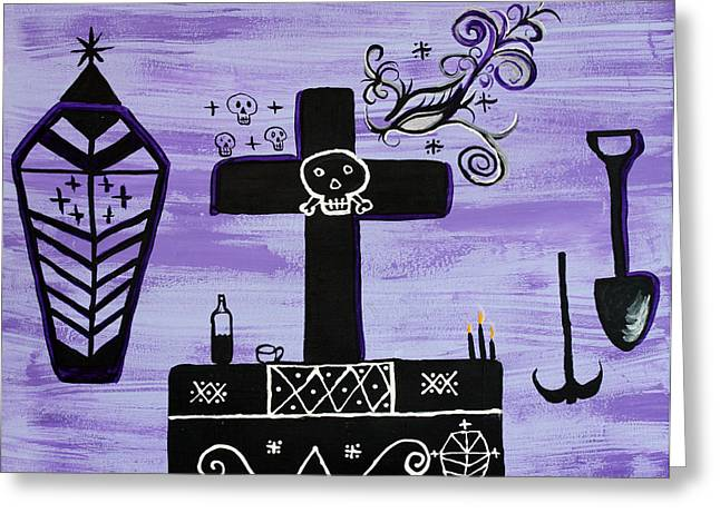 Vodou Paintings Greeting Cards - Ghede Greeting Card by Dayila Divine