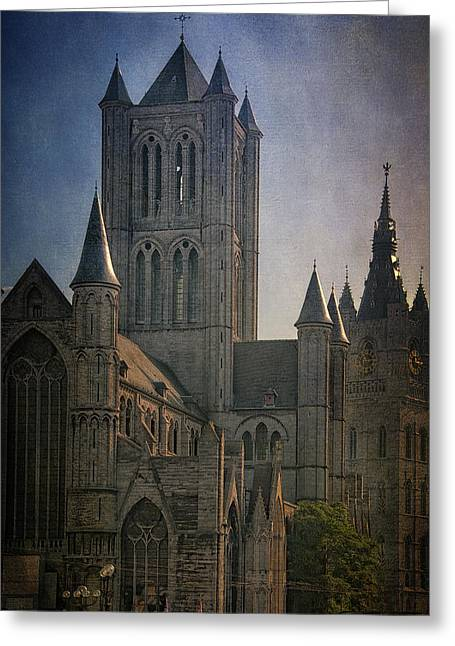 Medieval Clock Greeting Cards - Ghent Skyline Greeting Card by Joan Carroll